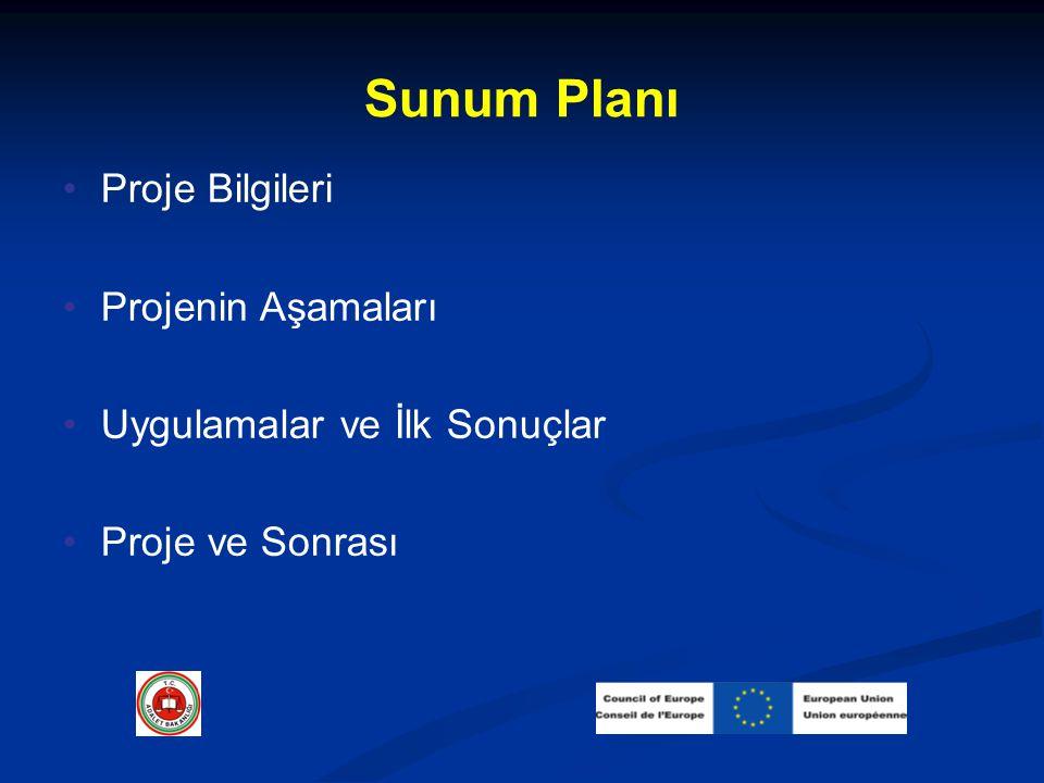 Sunum Planı Proje Bilgileri Projenin Aşamaları Uygulamalar ve İlk Sonuçlar Proje ve Sonrası