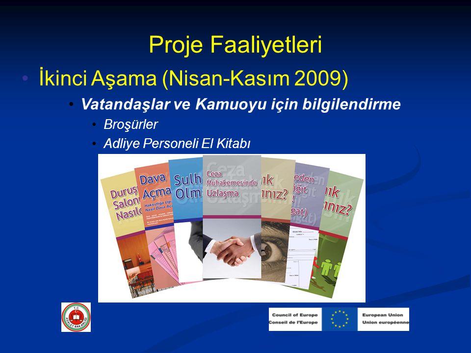 Proje Faaliyetleri İkinci Aşama (Nisan-Kasım 2009) Vatandaşlar ve Kamuoyu için bilgilendirme Broşürler Adliye Personeli El Kitabı