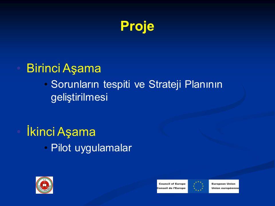 Proje Birinci Aşama Sorunların tespiti ve Strateji Planının geliştirilmesi İkinci Aşama Pilot uygulamalar