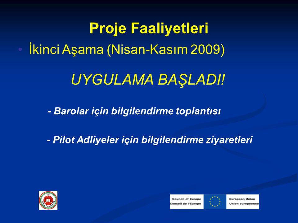 Proje Faaliyetleri İkinci Aşama (Nisan-Kasım 2009) UYGULAMA BAŞLADI! - Barolar için bilgilendirme toplantısı - Pilot Adliyeler için bilgilendirme ziya