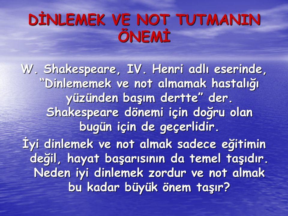 DİNLEMEK VE NOT TUTMANIN ÖNEMİ W.Shakespeare, IV.