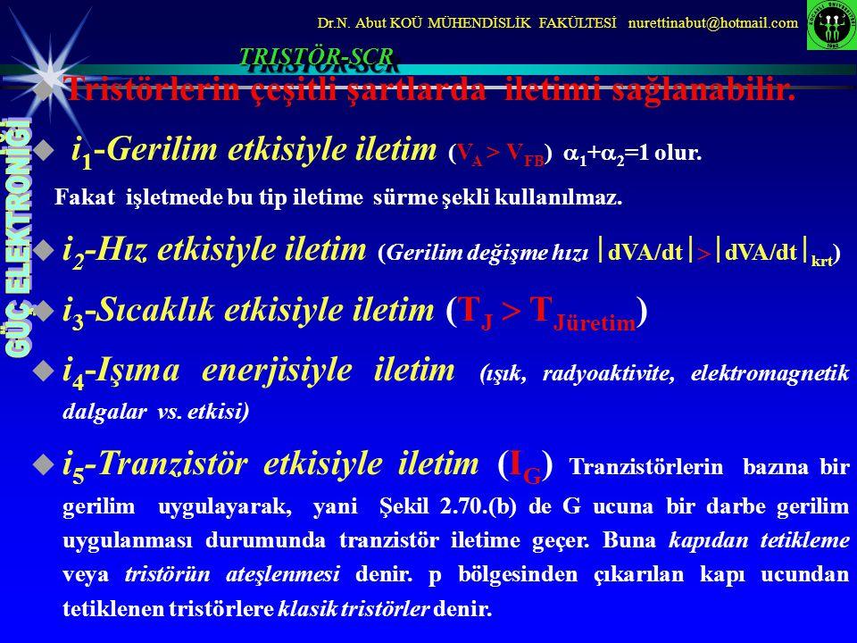  Tristörlerin çeşitli şartlarda iletimi sağlanabilir.  i 1 -Gerilim etkisiyle iletim (V A > V FB )  1 +  2 =1 olur. Fakat işletmede bu tip iletime