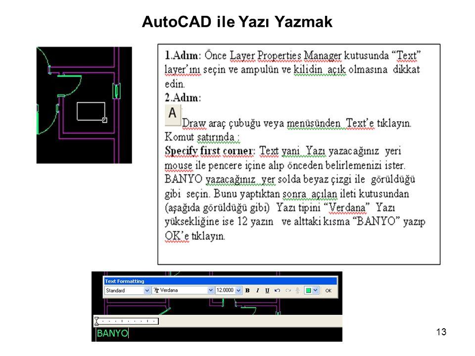 13 AutoCAD ile Yazı Yazmak