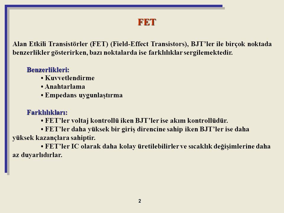 Alan Etkili Transistörler (FET) (Field-Effect Transistors), BJT'ler ile birçok noktada benzerlikler gösterirken, bazı noktalarda ise farklılıklar serg