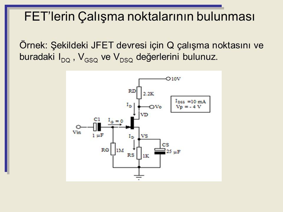 Örnek: Şekildeki JFET devresi için Q çalışma noktasını ve buradaki I DQ, V GSQ ve V DSQ değerlerini bulunuz. FET'lerin Çalışma noktalarının bulunması