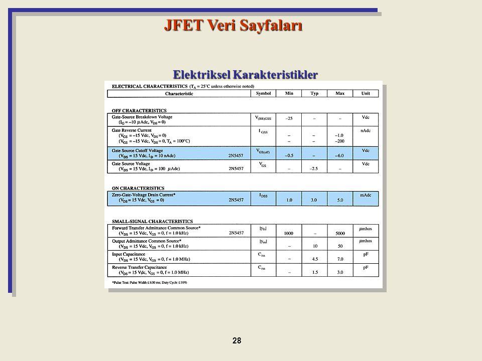 JFET Veri Sayfaları Elektriksel Karakteristikler 28