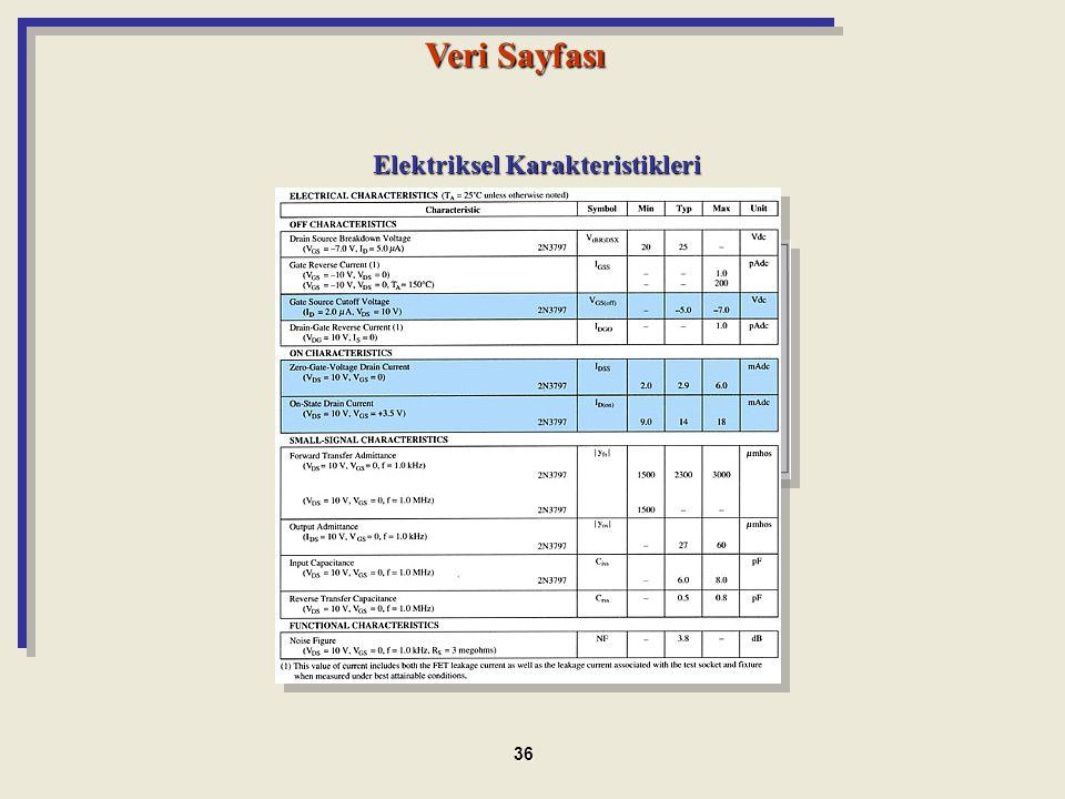 Maximum Ratings Elektriksel Karakteristikleri Veri Sayfası 36