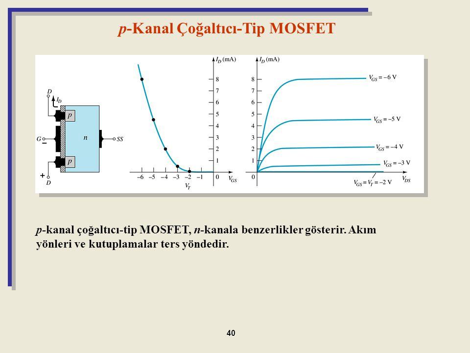 p-Kanal Çoğaltıcı-Tip MOSFET p-kanal çoğaltıcı-tip MOSFET, n-kanala benzerlikler gösterir. Akım yönleri ve kutuplamalar ters yöndedir. 40