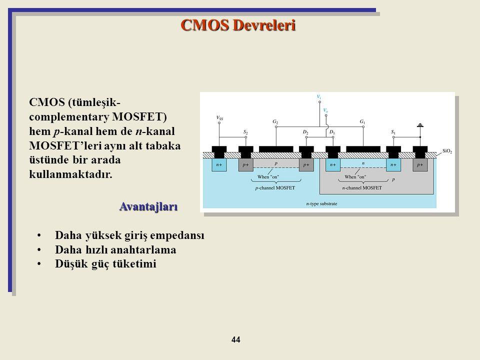 Avantajları Daha yüksek giriş empedansı Daha hızlı anahtarlama Düşük güç tüketimi CMOS Devreleri CMOS (tümleşik- complementary MOSFET) hem p-kanal hem