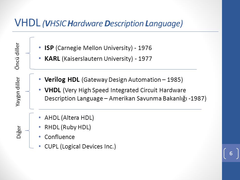 VHDL & Verilog HDL 7 VHDLVerilog HDL Daha katı kurallı olan bir dil.