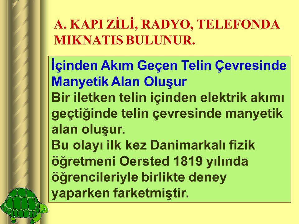 A.KAPI ZİLİ, RADYO, TELEFONDA MIKNATIS BULUNUR.