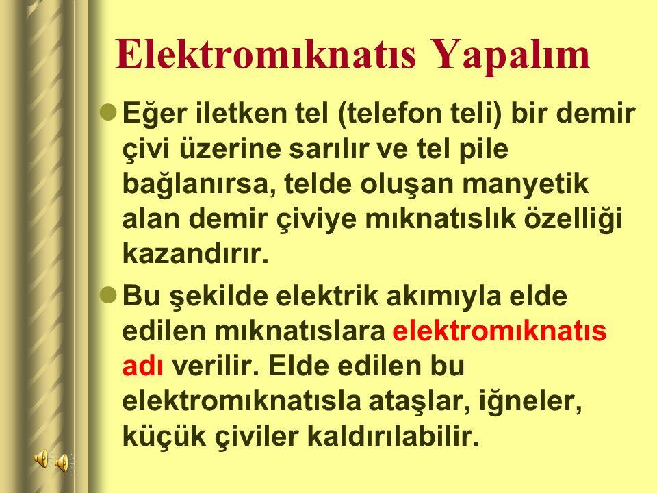 Elektromıknatıs Yapalım Eğer iletken tel (telefon teli) bir demir çivi üzerine sarılır ve tel pile bağlanırsa, telde oluşan manyetik alan demir çiviye mıknatıslık özelliği kazandırır.