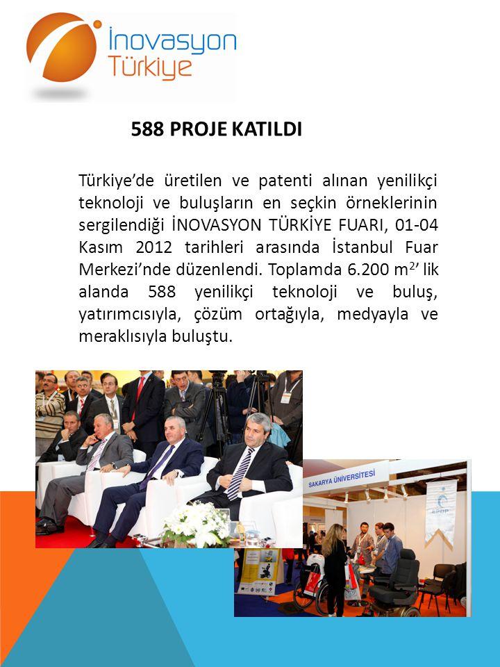 588 PROJE KATILDI Türkiye'de üretilen ve patenti alınan yenilikçi teknoloji ve buluşların en seçkin örneklerinin sergilendiği İNOVASYON TÜRKİYE FUARI, 01-04 Kasım 2012 tarihleri arasında İstanbul Fuar Merkezi'nde düzenlendi.