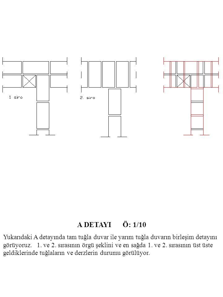A DETAYI Ö: 1/10 Yukarıdaki A detayında tam tuğla duvar ile yarım tuğla duvarın birleşim detayını görüyoruz.