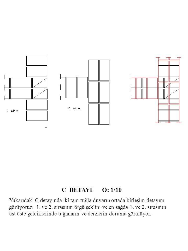 C DETAYI Ö: 1/10 Yukarıdaki C detayında iki tam tuğla duvarın ortada birleşim detayını görüyoruz.