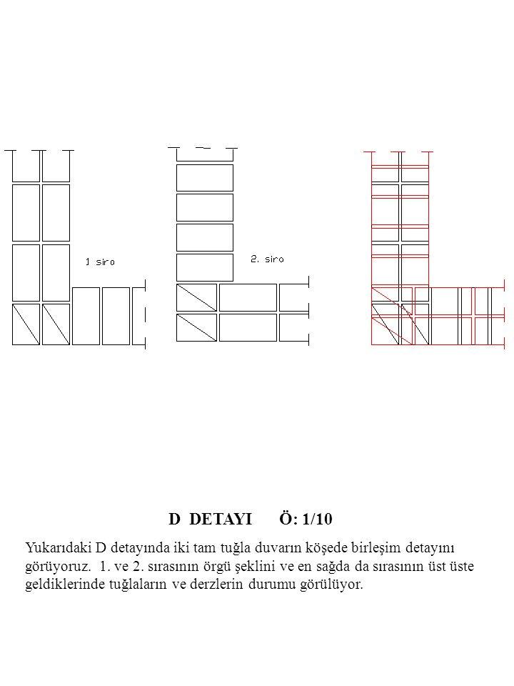 D DETAYI Ö: 1/10 Yukarıdaki D detayında iki tam tuğla duvarın köşede birleşim detayını görüyoruz.
