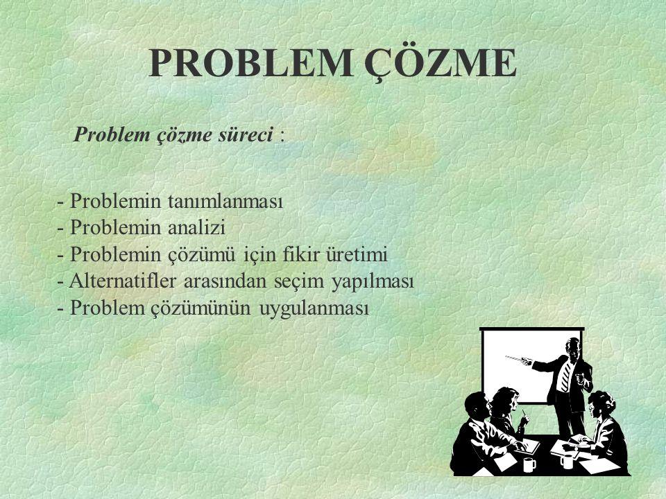 PROBLEM ÇÖZME Problem çözme süreci : - Problemin tanımlanması - Problemin analizi - Problemin çözümü için fikir üretimi - Alternatifler arasından seçi
