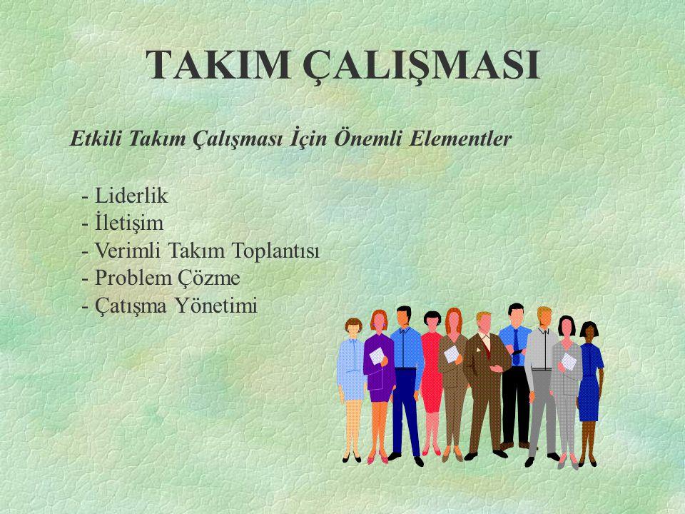 TAKIM ÇALIŞMASI Etkili Takım Çalışması İçin Önemli Elementler - Liderlik - İletişim - Verimli Takım Toplantısı - Problem Çözme - Çatışma Yönetimi