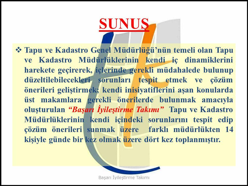SUNUŞ  Tapu ve Kadastro Genel Müdürlüğü'nün temeli olan Tapu ve Kadastro Müdürlüklerinin kendi iç dinamiklerini harekete geçirerek, içlerinde gerekli