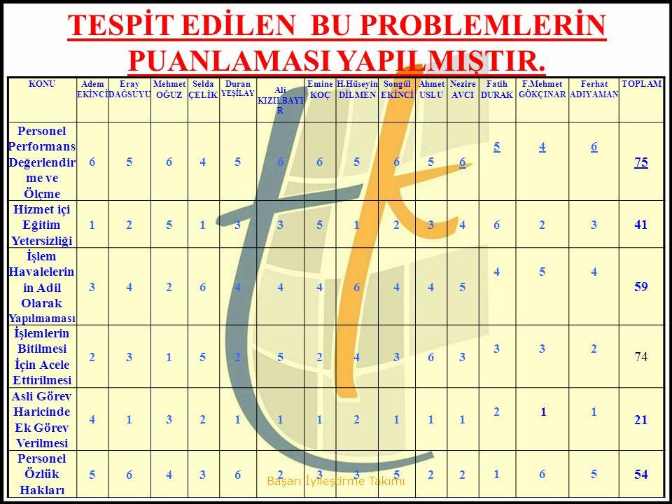 Yapılan bu puanlamadan oluşan sıralamaya göre öncelikli sorun/konu olarak belirlenen Personelin Performansını Değerlendirme ve Ölçme maddesinin nedenlerinin araştırılmasına başlanılmıştır.