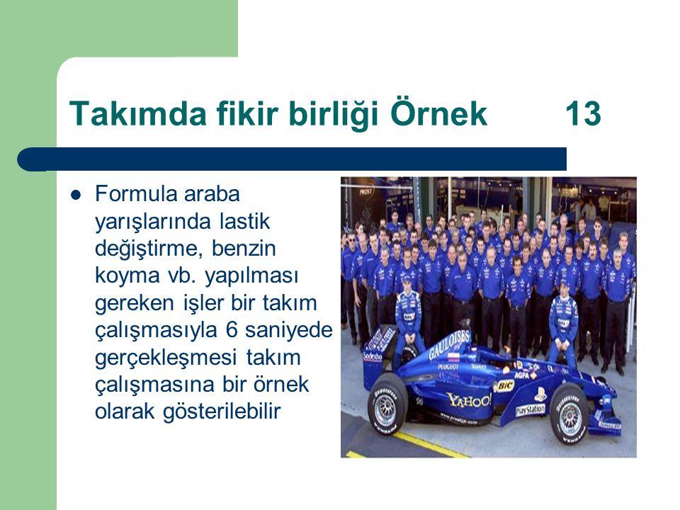 Takımda fikir birliği Örnek 13 Formula araba yarışlarında lastik değiştirme, benzin koyma vb.