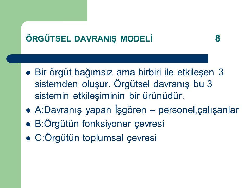 ÖRGÜTSEL DAVRANIŞ MODELİ 8 Bir örgüt bağımsız ama birbiri ile etkileşen 3 sistemden oluşur.