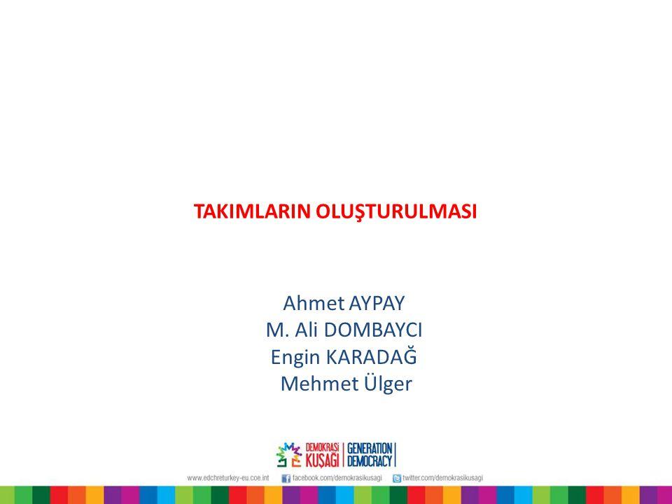 TAKIMLARIN OLUŞTURULMASI Ahmet AYPAY M. Ali DOMBAYCI Engin KARADAĞ Mehmet Ülger