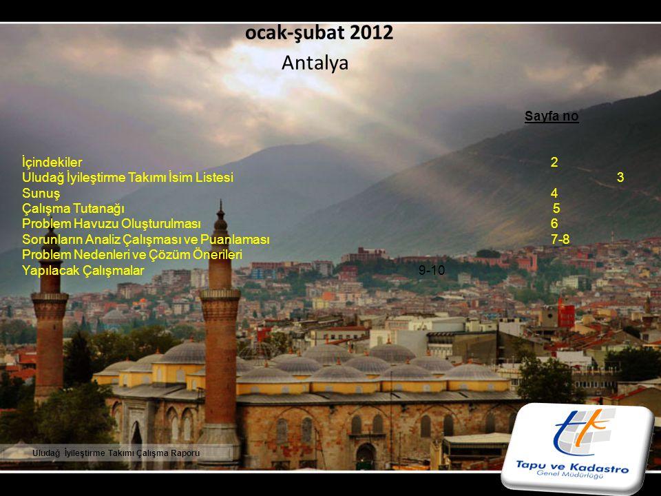 ocak-şubat 2012 Antalya DENİZLİ 18. TAPU VE KADASTRO BÖLGE MÜDÜRLÜĞÜ Sayfa no İçindekiler2 Uludağ İyileştirme Takımı İsim Listesi3 Sunuş 4 Çalışma Tut