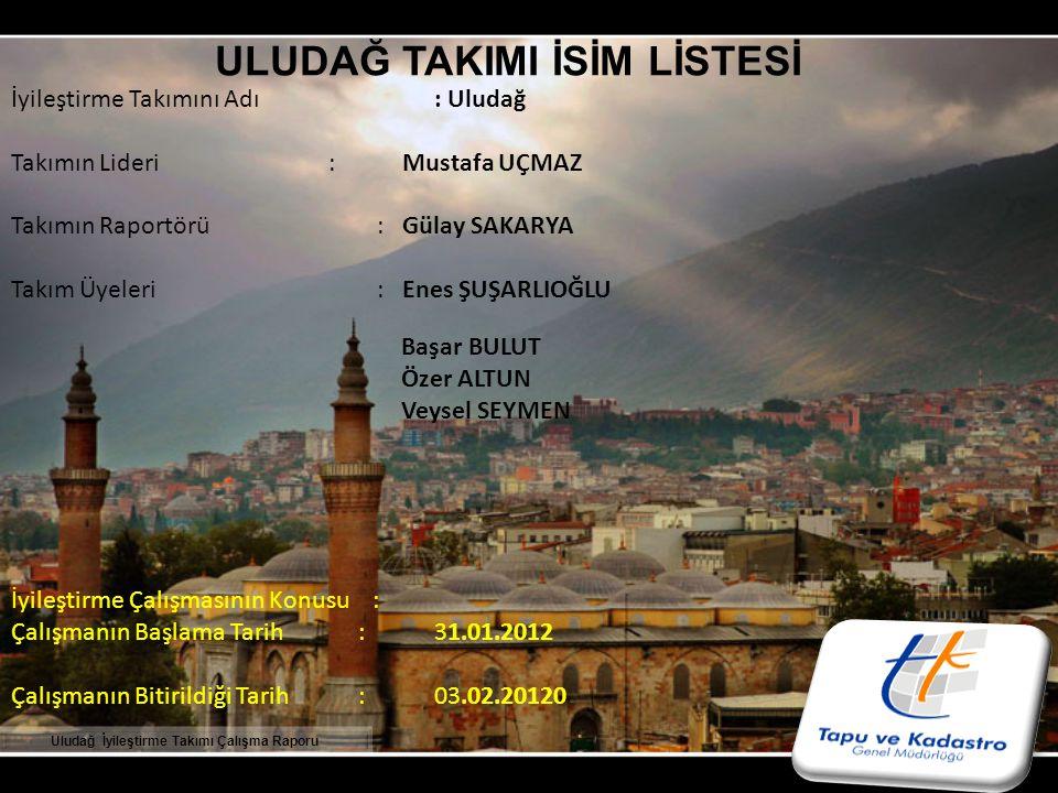 SUNUŞ Kurumsal Gelişim Projesi kapsamında, Bölgemizde oluşturulan ULUDAĞ İyileştirme Takımı 31 Ocak 2012 tarihinde ilk toplantısını yaparak çalışmalarına başlamış olup, 03 Şubat 2012 tarihinde konuya ilişkin çalışmaları tamamlamıştır.