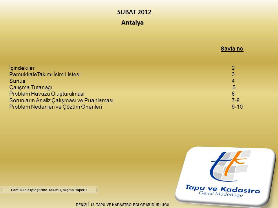 Antalya ŞUBAT 2012 Antalya DENİZLİ 18. TAPU VE KADASTRO BÖLGE MÜDÜRLÜĞÜ Sayfa no İçindekiler2 PamukkaleTakımı İsim Listesi3 Sunuş 4 Çalışma Tutanağı 5