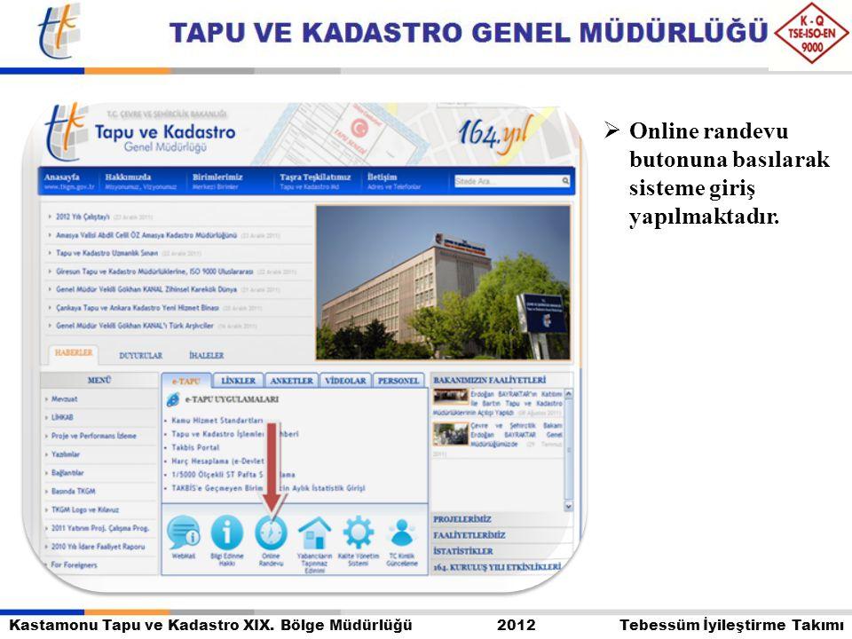 Kastamonu Tapu ve Kadastro XIX. Bölge Müdürlüğü 2012 Tebessüm İyileştirme Takımı  Online randevu butonuna basılarak sisteme giriş yapılmaktadır.