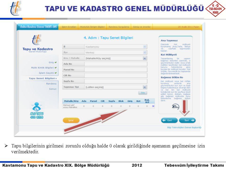 Kastamonu Tapu ve Kadastro XIX. Bölge Müdürlüğü 2012 Tebessüm İyileştirme Takımı  Tapu bilgilerinin girilmesi zorunlu olduğu halde 0 olarak girildiği