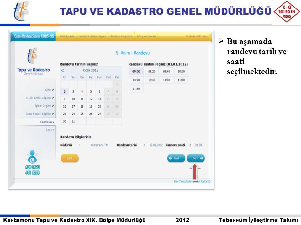Kastamonu Tapu ve Kadastro XIX. Bölge Müdürlüğü 2012 Tebessüm İyileştirme Takımı  Bu aşamada randevu tarih ve saati seçilmektedir.