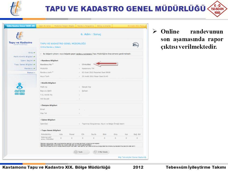 Kastamonu Tapu ve Kadastro XIX. Bölge Müdürlüğü 2012 Tebessüm İyileştirme Takımı  Online randevunun son aşamasında rapor çıktısı verilmektedir.