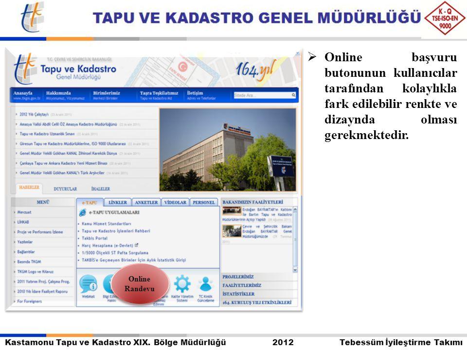 Kastamonu Tapu ve Kadastro XIX. Bölge Müdürlüğü 2012 Tebessüm İyileştirme Takımı  Online başvuru butonunun kullanıcılar tarafından kolaylıkla fark ed