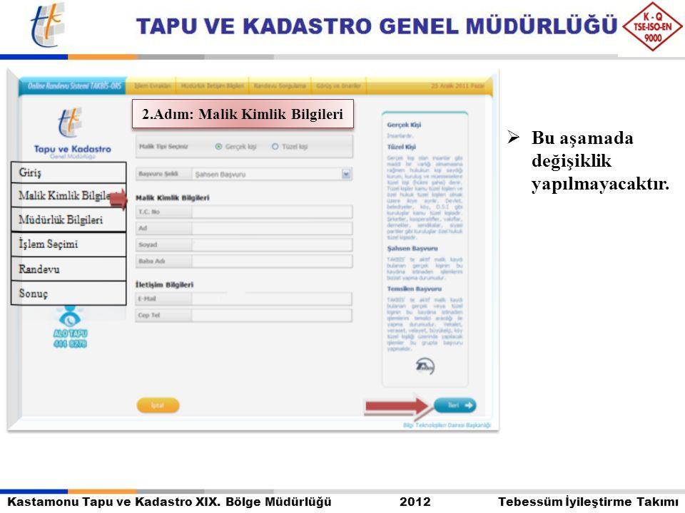Kastamonu Tapu ve Kadastro XIX. Bölge Müdürlüğü 2012 Tebessüm İyileştirme Takımı  Bu aşamada değişiklik yapılmayacaktır. 2.Adım: Malik Kimlik Bilgile