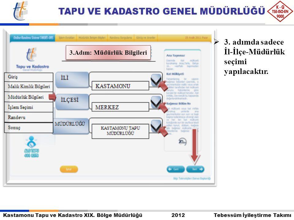 Kastamonu Tapu ve Kadastro XIX. Bölge Müdürlüğü 2012 Tebessüm İyileştirme Takımı  3. adımda sadece İl-İlçe-Müdürlük seçimi yapılacaktır. 3.Adım: Müdü