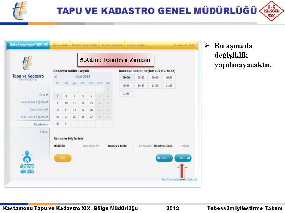 Kastamonu Tapu ve Kadastro XIX. Bölge Müdürlüğü 2012 Tebessüm İyileştirme Takımı  Bu aşmada değişiklik yapılmayacaktır. 5.Adım: Randevu Zamanı