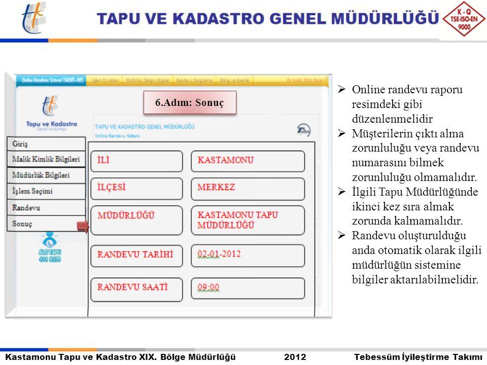 Kastamonu Tapu ve Kadastro XIX. Bölge Müdürlüğü 2012 Tebessüm İyileştirme Takımı  Online randevu raporu resimdeki gibi düzenlenmelidir  Müşterilerin