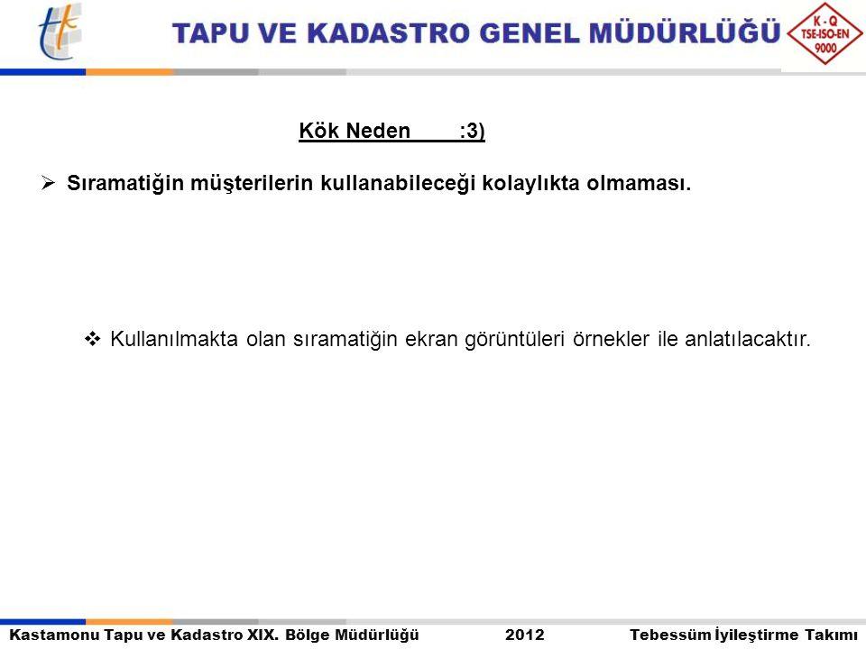 Kastamonu Tapu ve Kadastro XIX. Bölge Müdürlüğü 2012 Tebessüm İyileştirme Takımı Kök Neden :3)  Sıramatiğin müşterilerin kullanabileceği kolaylıkta o