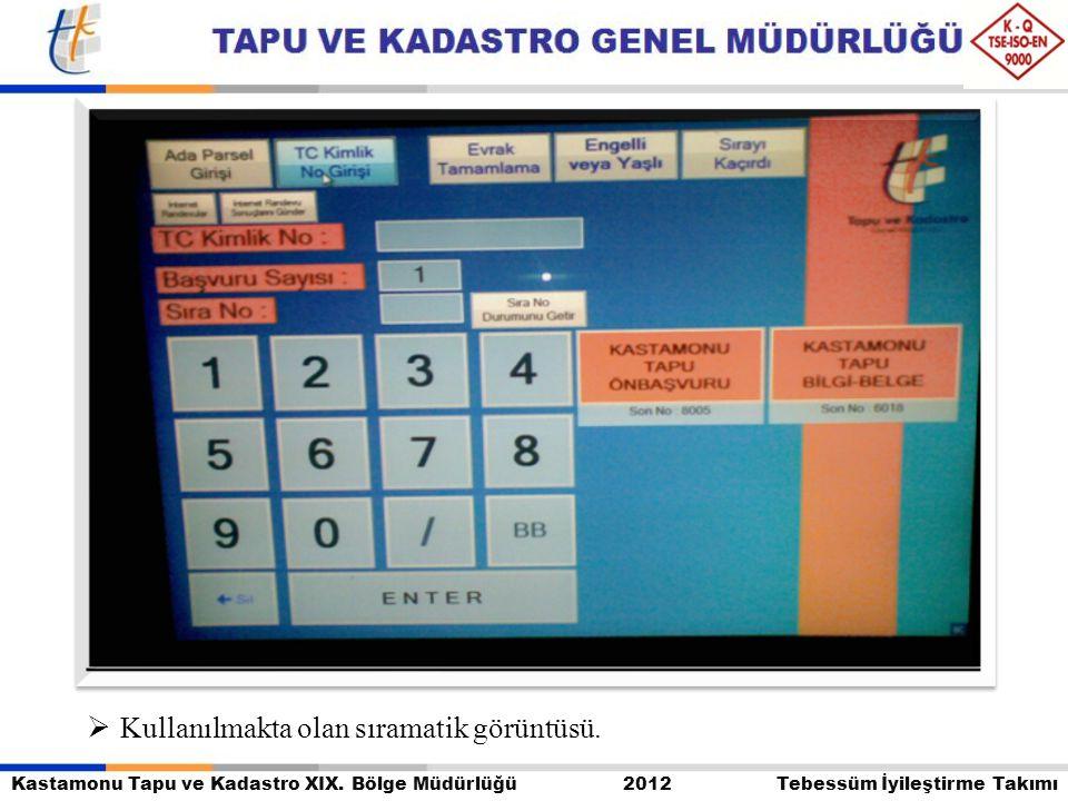 Kastamonu Tapu ve Kadastro XIX. Bölge Müdürlüğü 2012 Tebessüm İyileştirme Takımı  Kullanılmakta olan sıramatik görüntüsü.