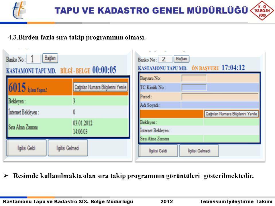 Kastamonu Tapu ve Kadastro XIX. Bölge Müdürlüğü 2012 Tebessüm İyileştirme Takımı  Resimde kullanılmakta olan sıra takip programının görüntüleri göste