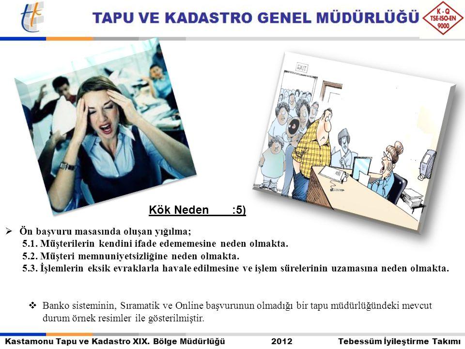Kastamonu Tapu ve Kadastro XIX. Bölge Müdürlüğü 2012 Tebessüm İyileştirme Takımı  Ön başvuru masasında oluşan yığılma; 5.1. Müşterilerin kendini ifad