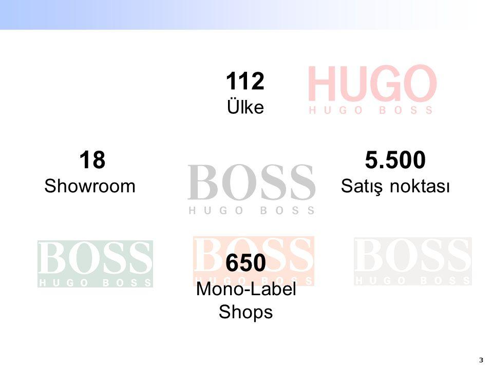 4 HUGO BOSS ürünlerinin yıllık perakende değeri 3.5 milyar EUR Dünya çapında 112 ülkede 4000 müşterisi olan ve 5500 satış ağına sahip Erkek üst giyim segment'inde pazar lideri Bayan giyimde hızlı büyüme trendi Dünya genelinde gruba ait 24 şirkete ve 15 ülkede kendine ait showroomlara sahip