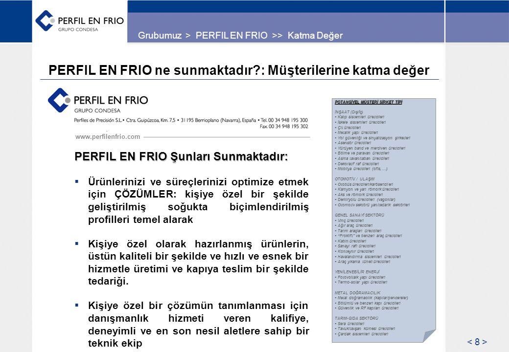 PERFIL EN FRIO ne sunmaktadır : Müşterilerine katma değer www.perfilenfrio.com PERFIL EN FRIO Şunları Sunmaktadır:  Ürünlerinizi ve süreçlerinizi optimize etmek için ÇÖZÜMLER: kişiye özel bir şekilde geliştirilmiş soğukta biçimlendirilmiş profilleri temel alarak  Kişiye özel olarak hazırlanmış ürünlerin, üstün kaliteli bir şekilde ve hızlı ve esnek bir hizmetle üretimi ve kapıya teslim bir şekilde tedariği.