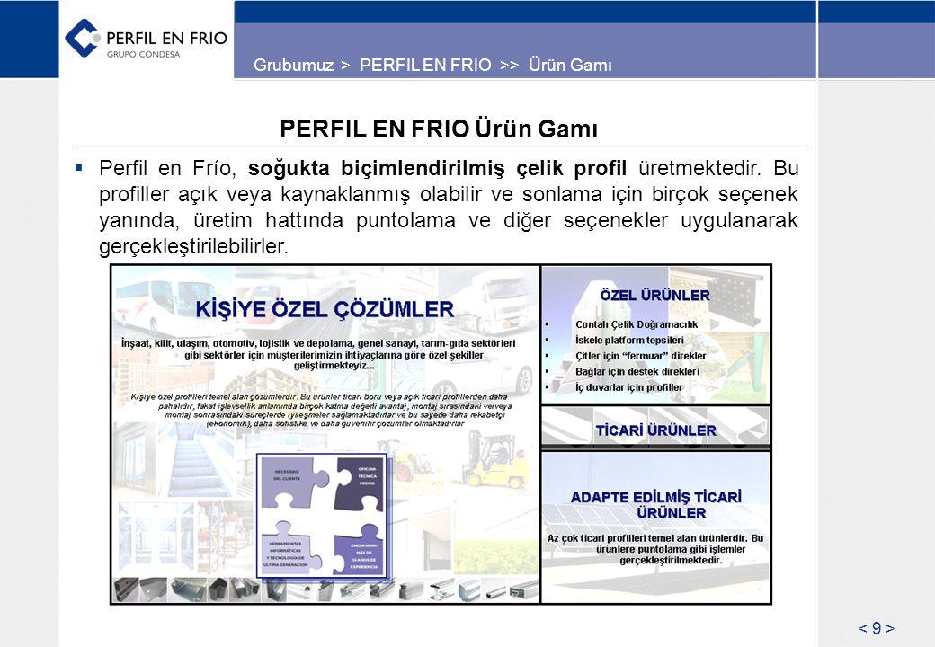 PERFIL EN FRIO Ürün Gamı  Perfil en Frío, soğukta biçimlendirilmiş çelik profil üretmektedir. Bu profiller açık veya kaynaklanmış olabilir ve sonlama