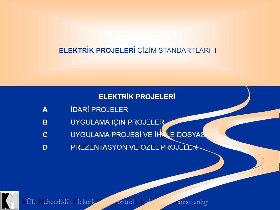 KÜL Mühendislik Elektrik Proje,Kontrol&Aydınlatma Danışmanlığı ELEKTRİK PROJELERİ ÇİZİM STANDARTLARI-1 A.