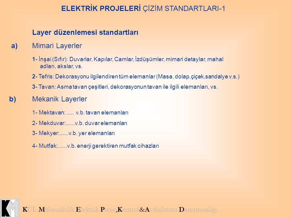 ELEKTRİK PROJELERİ ÇİZİM STANDARTLARI-1 KÜL Mühendislik Elektrik Proje,Kontrol&Aydınlatma Danışmanlığı Layer düzenlemesi standartları a)Mimari Layerle