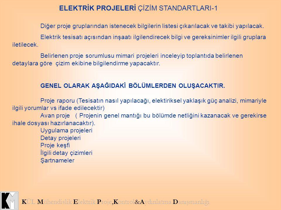 ELEKTRİK PROJELERİ ÇİZİM STANDARTLARI-1 KÜL Mühendislik Elektrik Proje,Kontrol&Aydınlatma Danışmanlığı Diğer proje gruplarından istenecek bilgilerin l