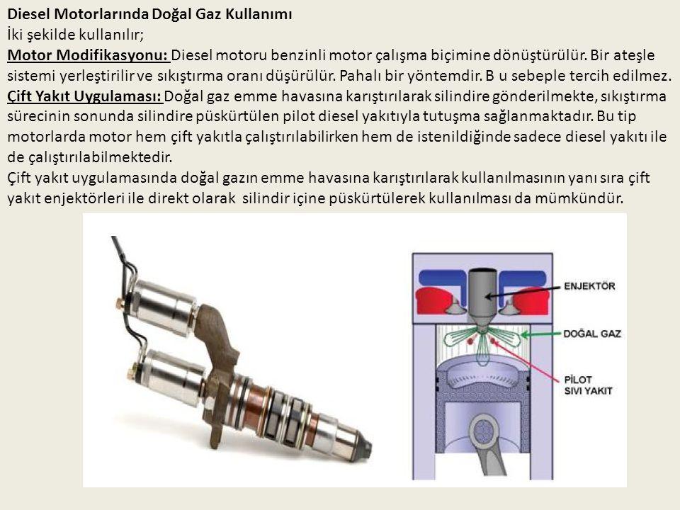 Diesel Motorlarında Doğal Gaz Kullanımı İki şekilde kullanılır; Motor Modifikasyonu: Diesel motoru benzinli motor çalışma biçimine dönüştürülür. Bir a